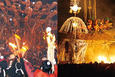 夜空を赤く染める「野沢温泉道祖神祭り」