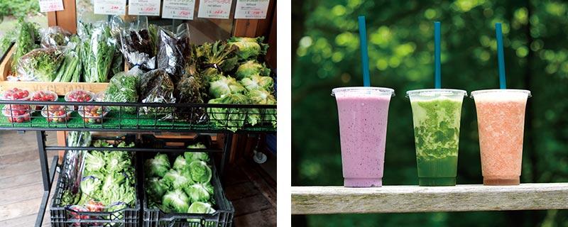 店頭の野菜とジュース